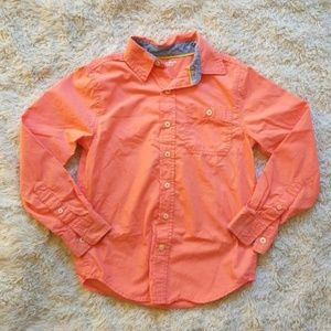 🌹Boys orange button up shirt medium 8